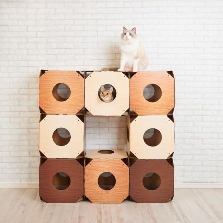 ★國際貓家★MJU 方塊造型隧道貓抓板